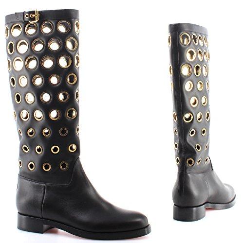 CHRISTIAN Calf Bottes Femme LOUBOUTIN Gold Black Chaussures Italy Apollobotta TWqzTH