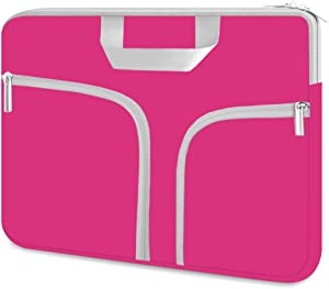 HESTECH Chromebook Case, 11.6-12.5 inch Neoprene Laptop Sleeve Travel Bag with Handle Compatible for Acer Chromebook r11/HP Stream/MacBook air 11/, Hot Pink