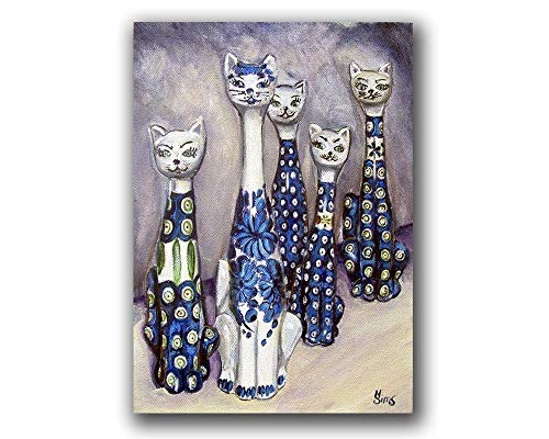 - Cats Polish Pottery Still Life Art Print Giclee for your Gallery Wall Home Decor, Size mat option