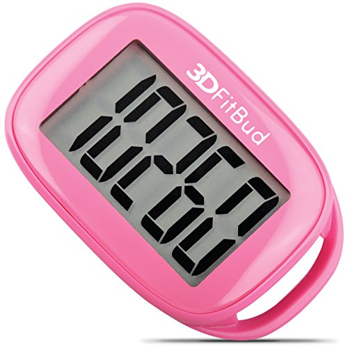 3DActive Simple Step Counter Walking 3D Pedometer with Lanyard, A420S (Pink)