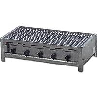 Tischbräter 4+1 Gas Brenner 5-flammig silber klein Tableroaster Balkon ✔ eckig ✔ Grillen mit Gas ✔ für den Tisch