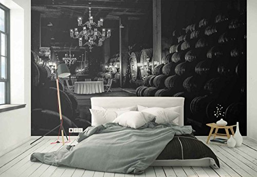 Photo wallpaper wall mural - Wine Cellar Vinery Barrels Chandelier - Theme Travel & Maps - XL - 12ft x 8ft 4in (WxH) - 4 Pieces - Printed on 130gsm Non-Woven Paper - 1X-208661V8 by Fotowalls Photo Wallpaper Murals