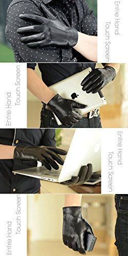 Harrms Best Touchscreen Nappa Genuine Leather Gloves for men's Texting Driving Gift Option (L-8.9''(US Standard Size), BLACK) by Harrms (Image #4)