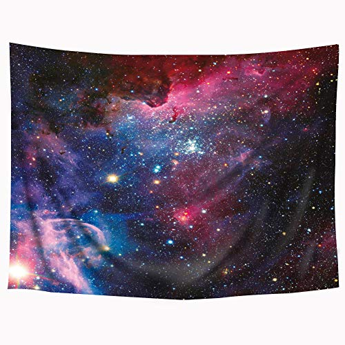 Wowzone Space Tapestry Starry Sky Galaxy 60x80 Inch Universe Tapestry Celestial Stars Purple Wall Hanging Bedding Wall Art Decor Bathroom Fabric Home Dorm Living Room (Decor Bedding Dorm)