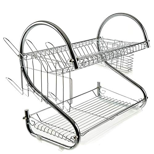 - 2 tier Dish Drying Rack, Large Dish Racks with Drain Board Utensil Holder Stainless Steel Generic Plate Dishes Drainer for Kitchen Counter over Sink Sturdy DrainBoard- 17 x 10 x 15 IN