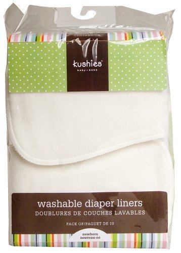 Kushies 10 Pack Washable Diaper Liners, White by (Kushies Washable Diaper Liners)