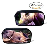 ThiKin 2 Cute Horse Pen Bags Pencil Pouch Coin Storage Bag for School Kids Office Worker Large Durable
