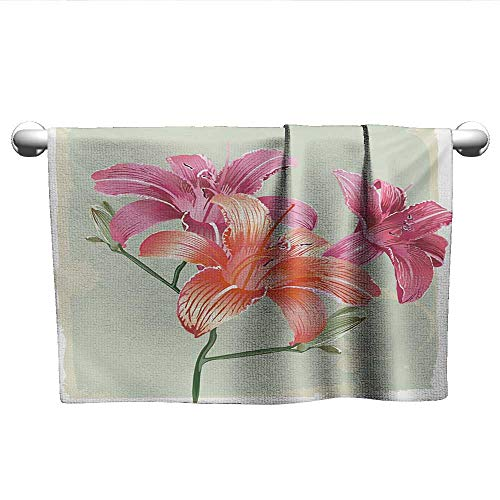 (alisoso Vintage Floral,Wholesale Towels Lily Flowers on Grunge Backdrop Gardening Plants Growth Botany Absorbent and Super Soft Towels Pale Green Salmon Pink W 10
