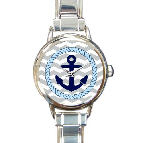 Amazon Novelty Gift Chevron Pattern With Nautical Anchor Round