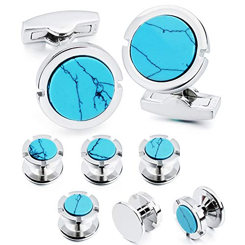 - HAWSON Cufflinks and Studs Set for Men - Best Gifts for Wedding Business Formal Event (Turquoise)