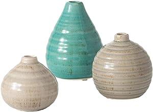 "Sullivans Small Modern Farmhouse Decorative Ceramic Vase Set (3), Rustic 5.75""H, 3.75""H & 3""H Tall Blue and Gray Vase Set, Decoration for Farmhouse Décor, Wedding Centerpiece, Housewarming Gift"