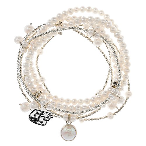 Georgia Southern Eagles 7 Strand Freshwater Pearl and Silver Bracelet by College Jewelry