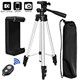 Phone Tripod, PEYOU 50'' Aluminum Camera Tripod + Wireless Remote Control Shutter + Universal Smartphone Holder Mount Compatible for iPhone X 8 7 6 6S Plus, Compatible for Galaxy Note 8 S9 S8 Plus S7
