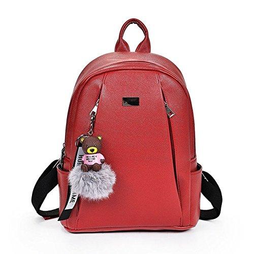 dos à pour filles femmes VHVCX Femmes solide Mode Or Sac dos Red Mochila Grand Sac Vintage Noir Jeunes sac école Cuir à 6wwAXqI