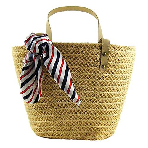 Khaki Straw Bag Shoulder Summer Beach Casual Shopping Handbag Basket Womens Totes Large rFr5PnZgW