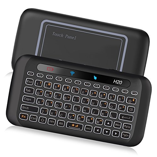 ILEBYGO 2.4Ghz Mini Wireless Keyboard with Touchpad Mouse Combo,7 Color Adjust Auto-Rotation of Touch Panel Handheld Remote Control,Li-ion Battery Air Remote Mouse for PC,Android Tv Box,HTPC.IPTV,PC,