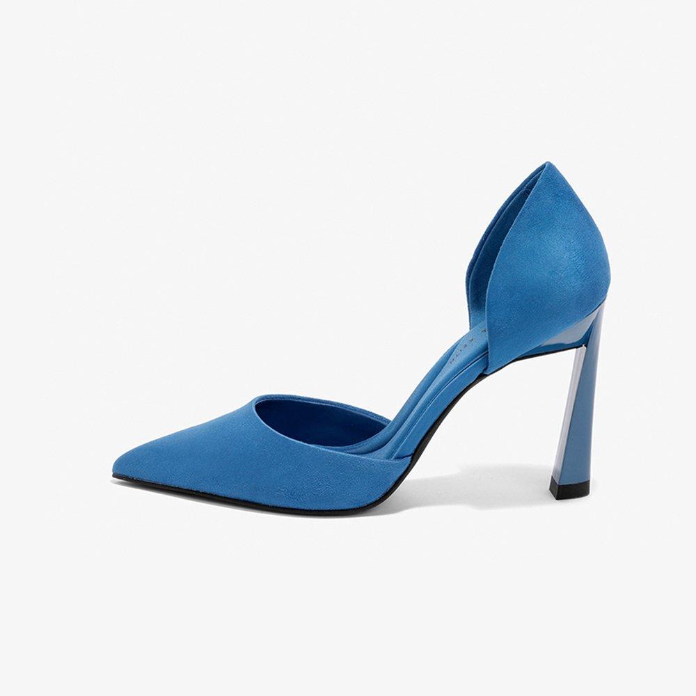 YQQ Mode High Heels Fruuml;hling Sommer Sandalen Weiblich Gemuuml;tlich Einzelne Schuhe Dame Mauml;dchen Sexy Spitz 9.5cm (Farbe : Blau, grouml;szlig;e : EU38/UK5.5)  EU38/UK5.5|Blau