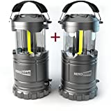 LED Camping Lantern - 2 x HeroBeam LED Lantern V2.0 with Flashlight - Latest COB Technology emits 300 LUMENS! - Collapsible Tough Lamp - Great Light for Camping, Car, Shop, Attic, Garage - 5 YEAR WARRANTY