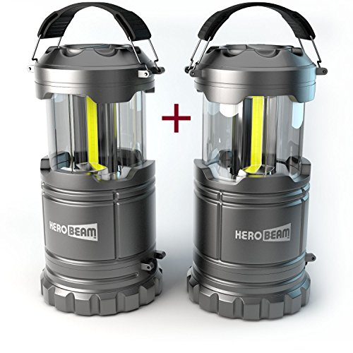 HeroBeam 2 x LED Lantern V2.0 with Flashlight - Latest COB Technology emits 300 LUMENS! - Collapsible Tough Lamp - Great Light for Camping, Car, Shop, Attic, Garage - 5 (Camping Light)