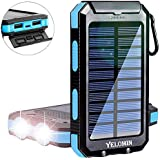 Solar Power Bank,Yelomin 20000mAh Portable Outdoor Waterproof Mobile Charger,Camping External Backup Battery Pack Dual USB 5V 1A/2A Output 2 Led Light Flashlight with Compass