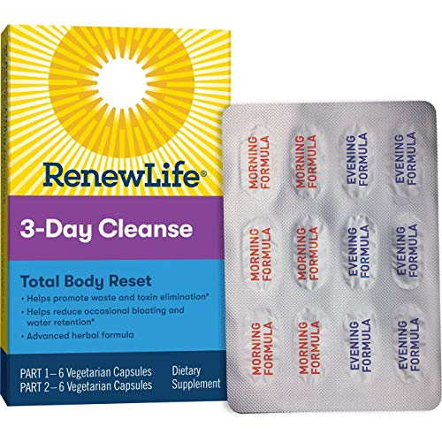 Renew Life Adult Cleanse - Total Body Reset, Advanced Herbal Formula - 3 Part, 3-Day Program (Packaging May Vary)