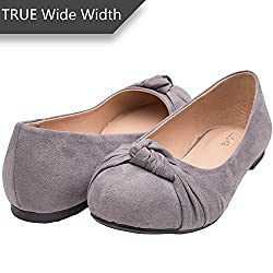 Women's Wide Width Flat Shoes - Comfortable Slip On Round Toe Ballet Flats. (Mc Grey 180303,8.5ww)