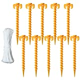 LATIBELL Tent Stakes Plastic Ground Pegs Sand Canopy Stakes for Beach Camping Tent Accessories Outdoor Trip Essentials Pack of 10,Bonus 49ft Tent Ropes