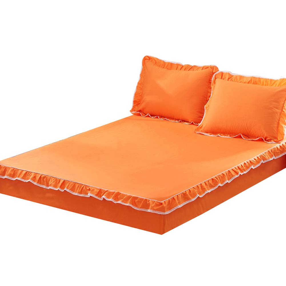 orange-1pc Full ZHAOHUI Mattress Predector Cotton Anti-mite Breathable Soft Skin-Friendly Comfortable Noiseless, 4 Packages, 5 colors, 2 Sizes (color   orange-1pc, Size   Full)