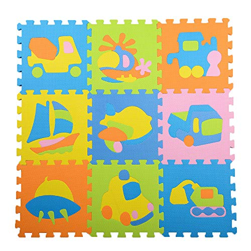- LandFox 9Pcs Baby Children Transport Puzzle EVA Foam Puzzle Game Mat Toy Gift