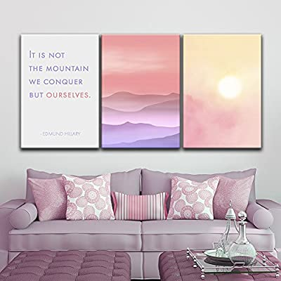 Stunning Composition, 3 Panel Landscape with Mountains at Sunset with Inspirational Quotes x 3 Panels, Quality Artwork