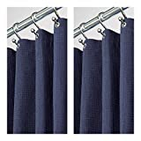 mDesign Long Hotel Quality Polyester/Cotton Blend Fabric Shower Curtain, Rustproof Metal Grommets - Waffle Weave for Bathroom Showers and Bathtubs - 72'' x 84'', Pack of 2, Navy Blue