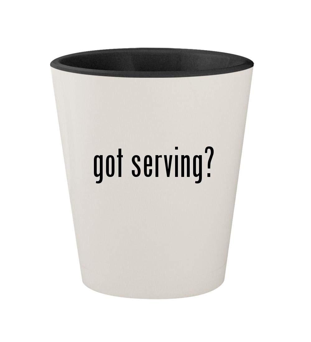 got serving? - Ceramic White Outer & Black Inner 1.5oz Shot Glass