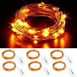 CYLAPEX 6 Pack Orange Fairy Lights 7.2FT Silvery Copper Wire 20 LED Fairy String Lights Small Starry Lights Firefly Battery Operated Micro String Lights for Christmas DIY Decor Costume Wedding Party