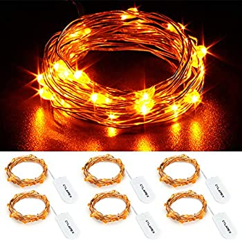 cylapex 6 pack orange fairy lights 3 3ft silvery copper wire 20 led fairy string  lights