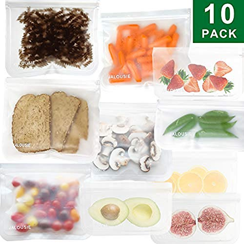 - JALOUSIE Reusable Storage Bags (10 Pack) Extra Thick Zipper Bag for Snacks, sandwiches, stationery, travel 3-1-1 clear bag (clear)