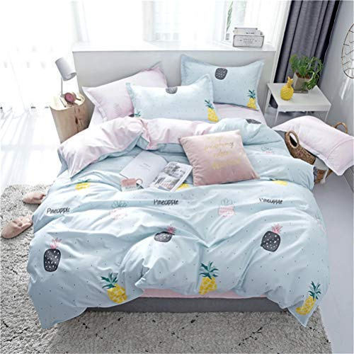 Vefadisa Gold Pineapple Comforter Cover Sets Teens Bedding Set Twin-4pcs Quilt Cover Set- 1 Duvet Cover 2 Pillow Sham 1 Flat Sheet with Zipper Closure-Soft Breathable Cotton Printed Bedding Sets