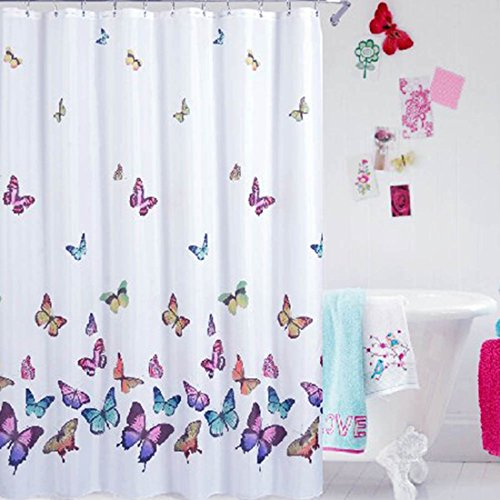 ONEONEY Butterflies Print Bath Curtain Waterproof Mildew Proof Fabric Shower Multi Color 70WX70L Inch