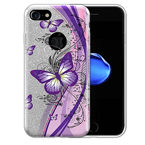 FINCIBO Case Compatible with Apple iPhone 7 / iPhone 8, Shiny Sparkling Silver Bling Glitter TPU Protector Cover Case for iPhone 7/8 (NOT FIT 7 Plus, 8 Plus) - Pink Purple Butterfly ()