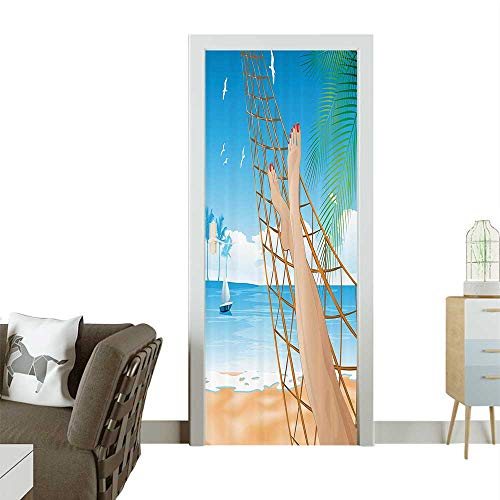 Homesonne 3D Photo Door Murals Legs of The Sexy Lady Laying in The Hammock Toward The Ocean in Hawaiian Easy to Clean and applyW32 x H80 INCH