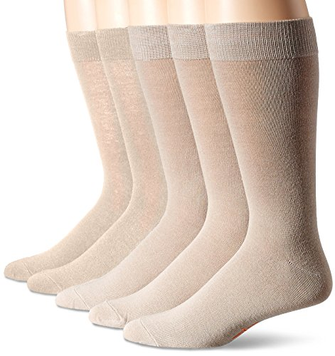 Dockers Men's 5 Pack Classics Dress Flat Knit Crew, Khaki, Sock Size:10-13/Shoe Size: 6-12 by Dockers