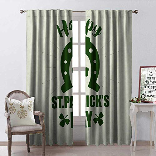 Happy St. Patricks Day Simple Clover Horseshoe 9 Blackout Window Curtain Customized Curtains W108 x L108