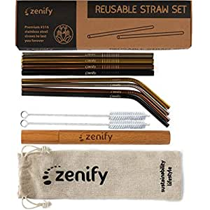Zenify Reusable Straws with Case - Metal Straw Stainless Steel Drinking Gift Set of Assorted 8 Straight and Bent Angled - Eco Alternative to Single Use Plastic, Paper, Glass, Silicone, Bamboo Last Straw Final Vegan Kids Wooden Smoothie for Reduce Reuse Recycle