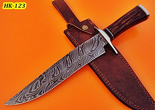 REG-HK-123- Custom Handmade Damascus Steel Hunting Knife – Solid Rose Wood - Hk Custom Shop