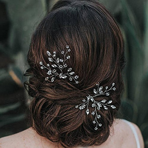 Artio Wedding Hair Pins Accessories with Crystal Rhinestones and Beads for Brides and Bridesmaids 2 PCS (HP-9521)