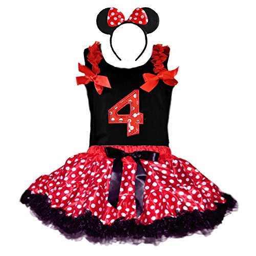 Birthday Girl's Polka Dot Tutu Sequin Age Number Tank-Top & Headband 3 Pcs Set (Age 4-RWBK)