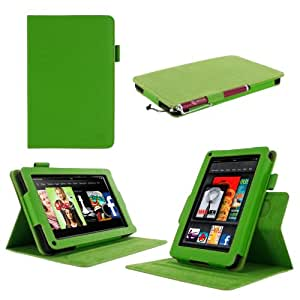 """rooCASE Amazon Kindle Fire 7 Case - (2011 Non-HD Previous Generation) Dual View Multi Angle Tablet 7-Inch 7"""" Stand Cover - GREEN"""