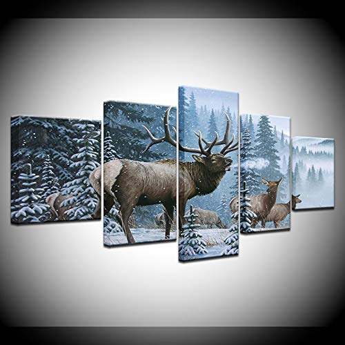 GYIHKLBS 5 Pieces Painting 5 Piece Mountain Bull Elk Pictures Animal Posters Canvas HD Prints Paintings Wall Art Frame Picture for Living Room Home DecorNo frame20x35 20x45 ()