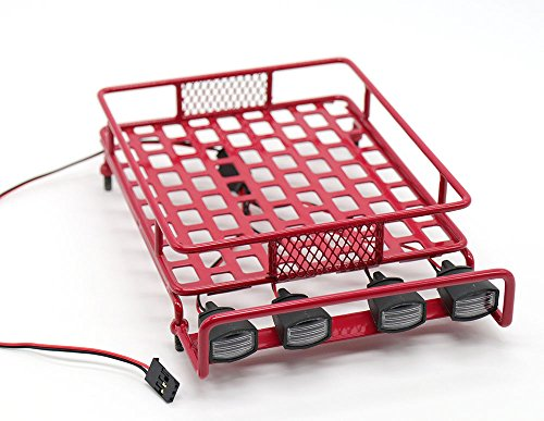 WishRing RC 1:10 Roof Luggage Rack LED Light Bar Wrangler Tamiya CC01 SCX10 Axial 514 (Red)