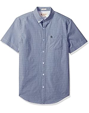 Men's Short Sleeve Gingham Shirt with Button Down Collar