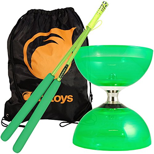 Juggle Dream Green Cyclone Quartz 2 Diabolo & Green Superglass Diablo Sticks Set with Firetoys Bag